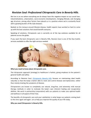 Revision Soul: Professional Chiropractic Care in Beverly Hills
