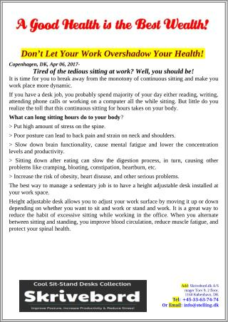 Don't Let Your Work Overshadow Your Health!