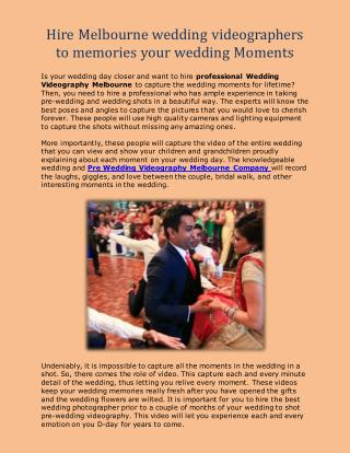Hire Wedding Videography Melbourne to memories your wedding Moments
