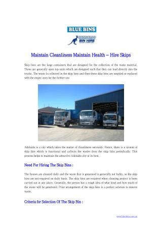Maintain Cleanliness Maintain Health - Hire Skips