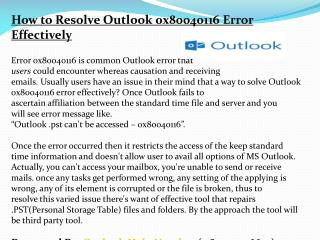 How to Resolve Outlook 0x80040116 Error Effectively
