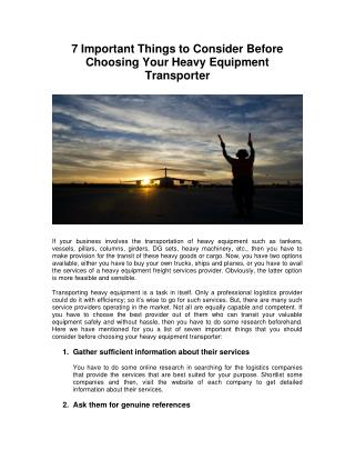 7 Important Things to Consider Before Choosing Your Heavy Equipment Transporter