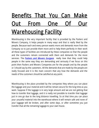 Benefits That You Can Make Out From One Of Our Warehousing Facility