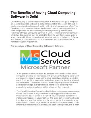 The Benefits of having Cloud Computing Software in Delhi