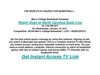 Duke at North Carolina State live streaming | Men's College