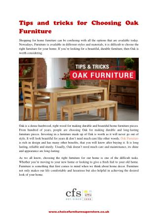 Tips and tricks for Choosing Oak Furniture