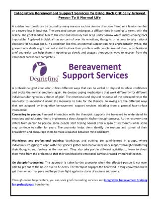 Integrative Bereavement Support Services To Bring Back Critically Grieved Person To A Normal Life