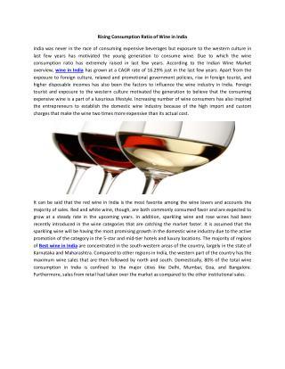 Rising Consumption Ratio of Wine in India
