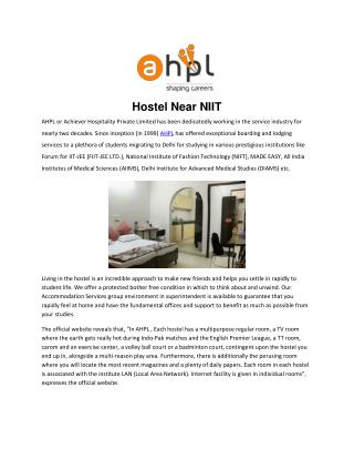 Hostel near NIIT