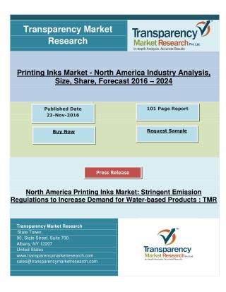 North America Printing Inks Market: Increase Demand for Water-based Products, Research By 2024