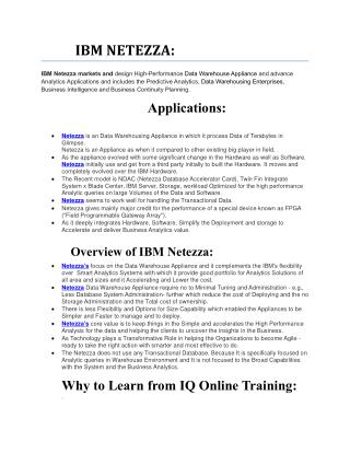 Learn IBM NETEZZA Online from our Experts and get Real-Time Guidance - IQ Online Training