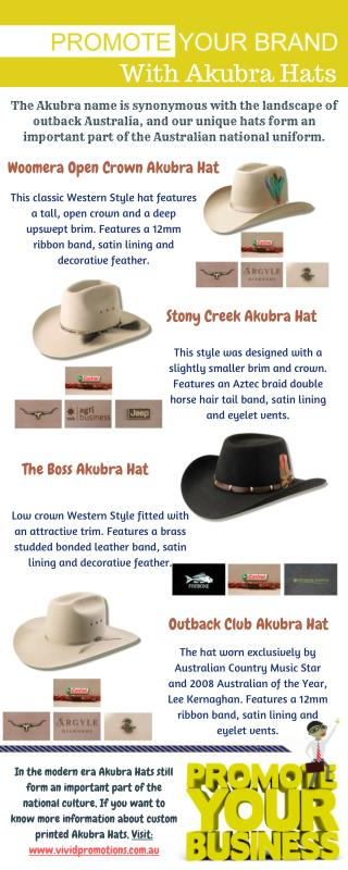Look Custom Printed Akubra Hats at Vivid Promotions