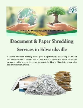 Document & Paper Shredding Services in Edwardsville