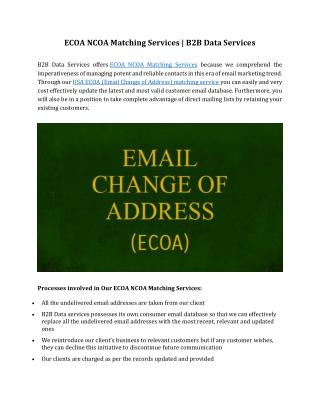 ECOA NCOA Matching Services | B2B Data Services