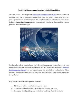 Email List Management Services - Global Email Lists