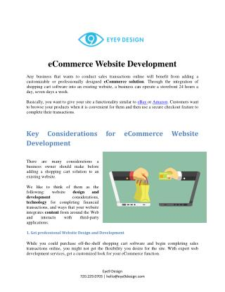 E-Commerce Website Design - Website Designers