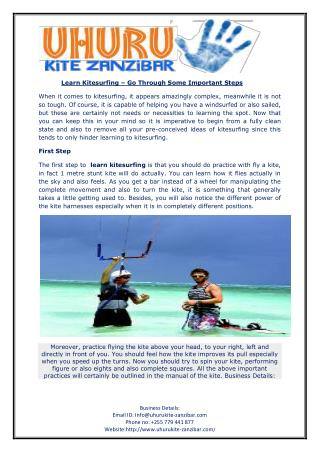 Learn Kitesurfing – Go Through Some Important Steps