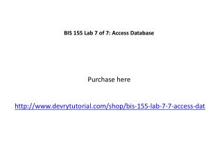 BIS 155 Lab 7 of 7: Access Database