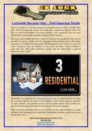 Locksmith Sherman Oaks – Find Important Details