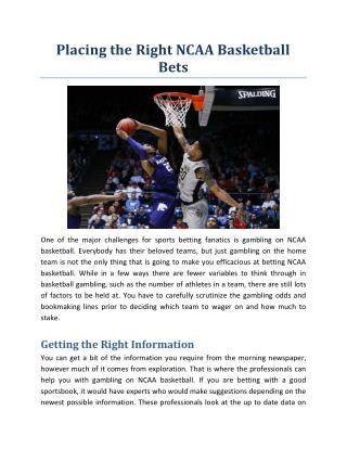 Placing the Right NCAA Basketball Bets