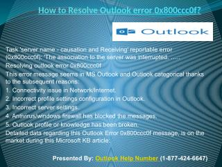 How to Resolve Outlook error 0x800ccc0f?