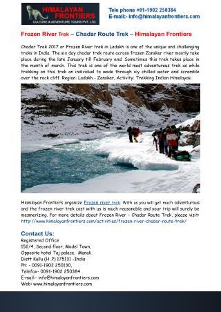 Frozen River Trek – Chadar Route Trek – Himalayan Frontiers