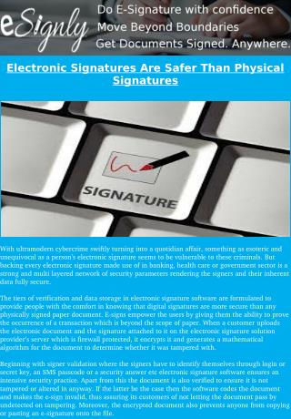 Prove Electronic Signatures Are More Secure Than Physical Signatures