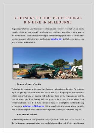 3 Reasons To Hire Professional Bin Hire In Melbourne