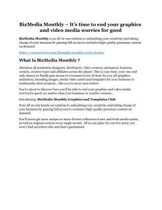 BizMedia Monthly Review - MASSIVE $23,800 BONUSES NOW!
