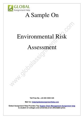 Sample Report on Environmental Risk Assessment by Global Assignment Help