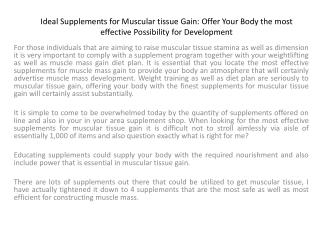 Ideal Supplements for Muscular tissue Gain