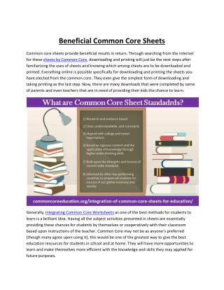 High Standard Common Core Sheets