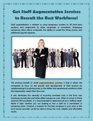Get Staff Augmentation Services to Recruit the Best Workforce!