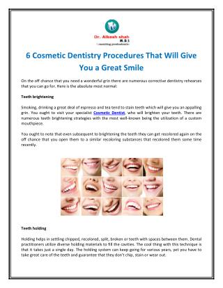 6 Cosmetic Dentistry Procedures That Will Give You a Great Smile