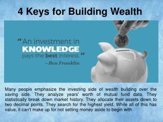 4 Keys for Building Wealth