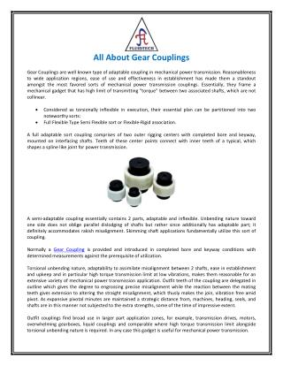 All About Gear Couplings