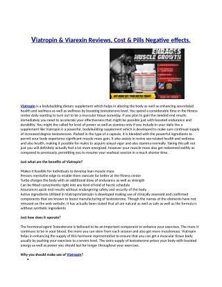 Viatropin Reviews -Testosterone Enhancer to Transform Your Body?