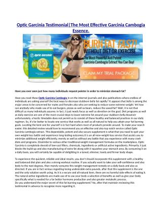 Optic Garcinia cambogia - New Fat burning Supplement for Free Trial