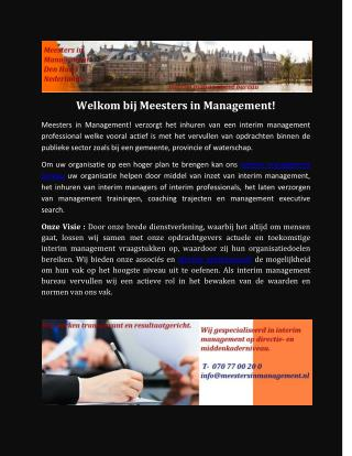 Interim management opdrachten | executive interim management