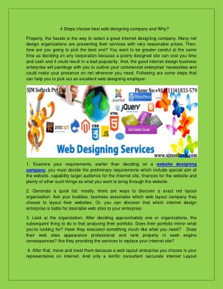 4 Steps choose best web designing company and Why