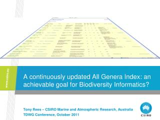 A continuously updated All Genera Index: an achievable goal for Biodiversity Informatics