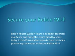 Secure your belkin wi-fi