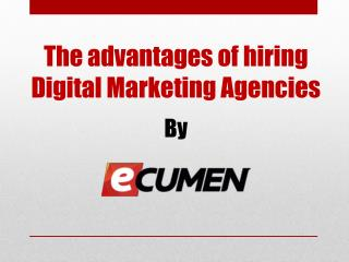 Advantages of hiring a Digital Marketing Agency like Ecumen.