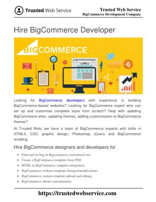 Hire BigCommerce Developer | BigCommerce Development Company in India