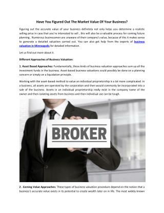 Business Broker to Valuate Your Business