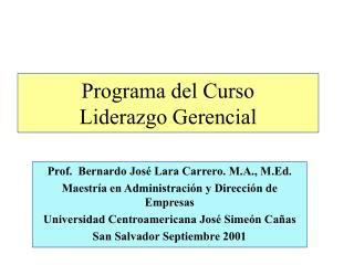Programa del Curso Liderazgo Gerencial
