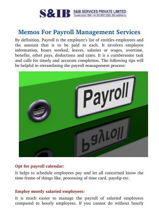 Memos for Payroll Management Services