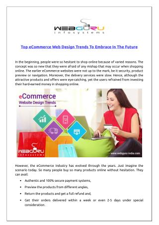 Top eCommerce Web Design Trends To Embrace In The Future