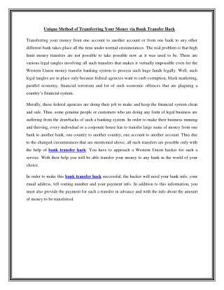 Bank Transfer Hack | wuhack247.com