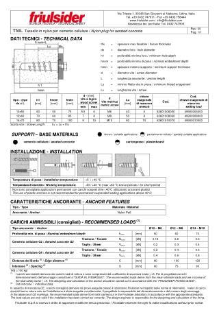 TML Nylon plug for aerated concrete